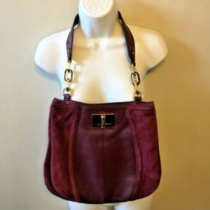 B. Makowsky Purple Plum Leather Shoulder Bag